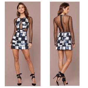 BEBE Plaid Sequins Cut Out Mesh Polka Dot Dress